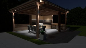 Outside lounge area at night